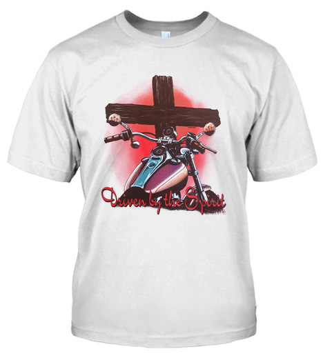 DRIVEN BY THE SPIRIT CHRISTIAN BIKER T-SHIRT Model