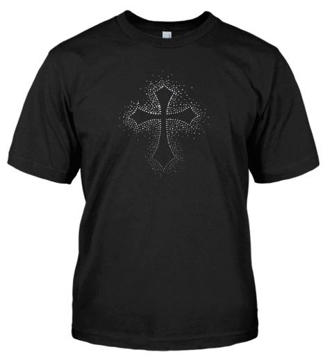 RHINESTONE CROSS CHRISTIAN T-SHIRT Model