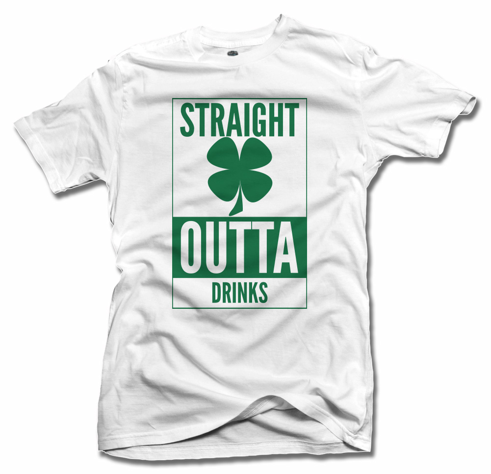 STRAIGHT OUTTA DRINKS CLOVER IRISH T-SHIRT Model