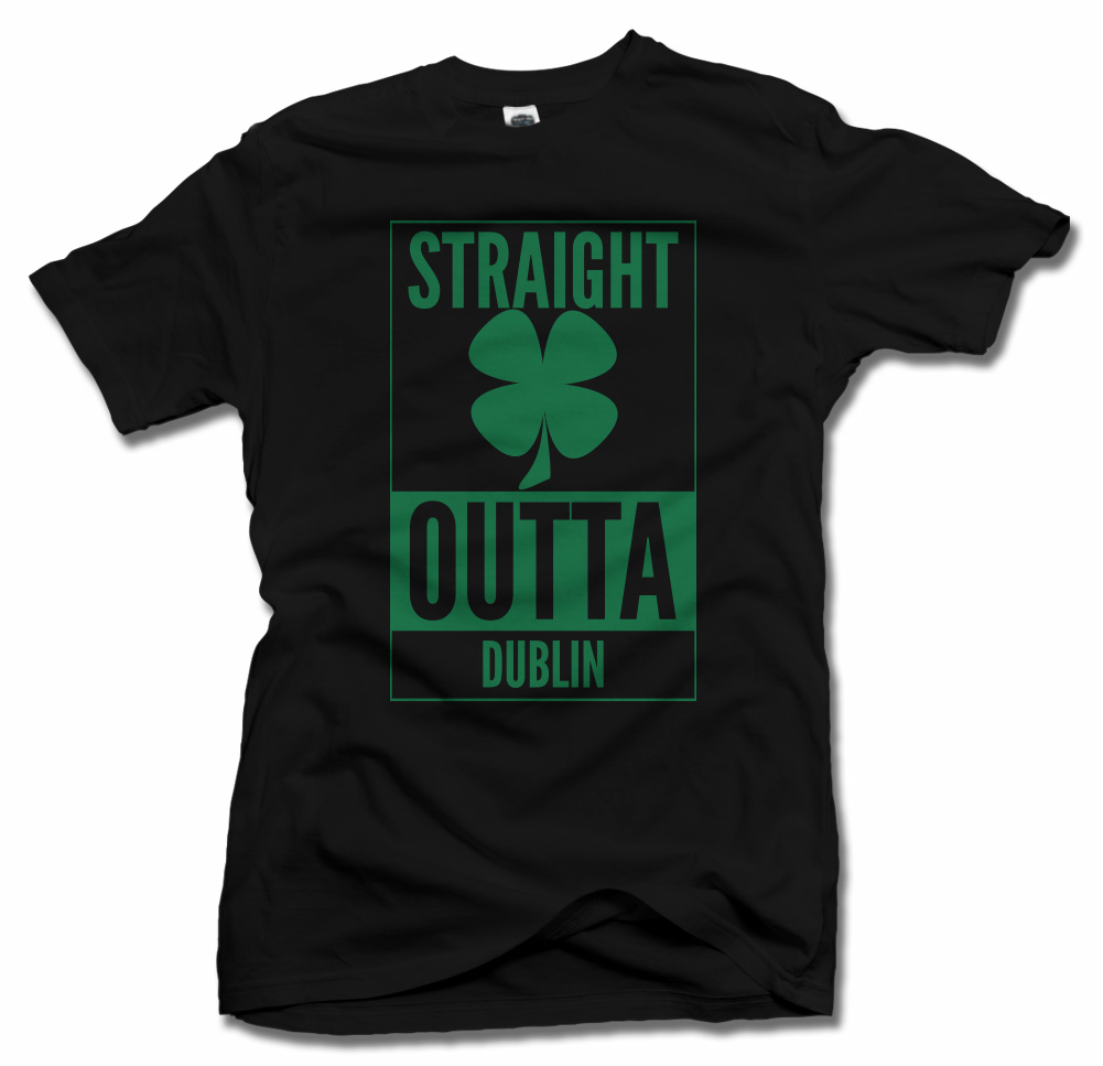 STRAIGHT OUTTA DUBLIN CLOVER IRISH T-SHIRT Model