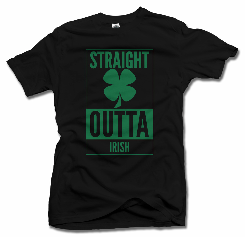 STRAIGHT OUTTA IRISH CLOVER IRISH T-SHIRT Model