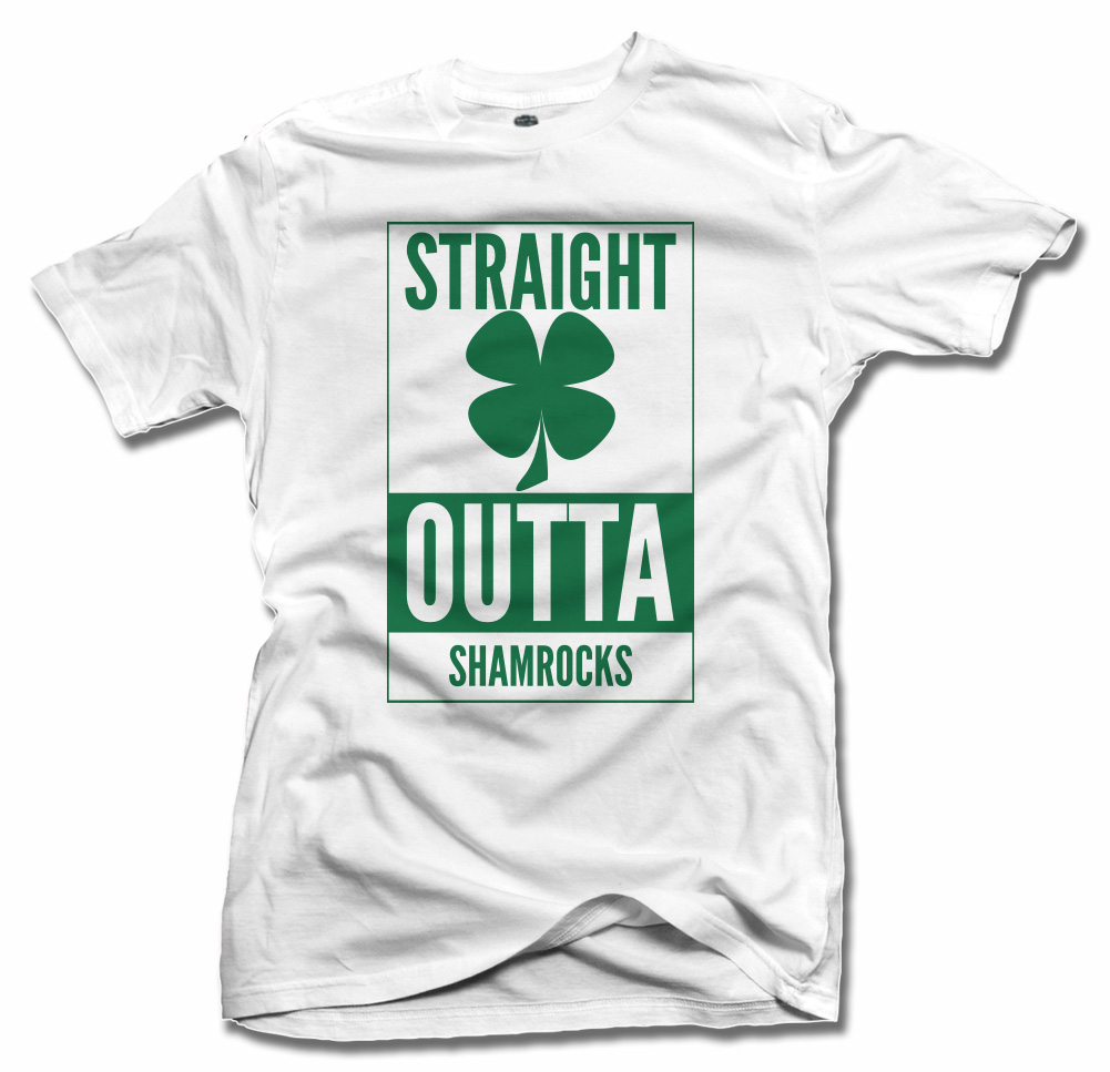 STRAIGHT OUTTA SHAMROCKS CLOVER IRISH T-SHIRT Model