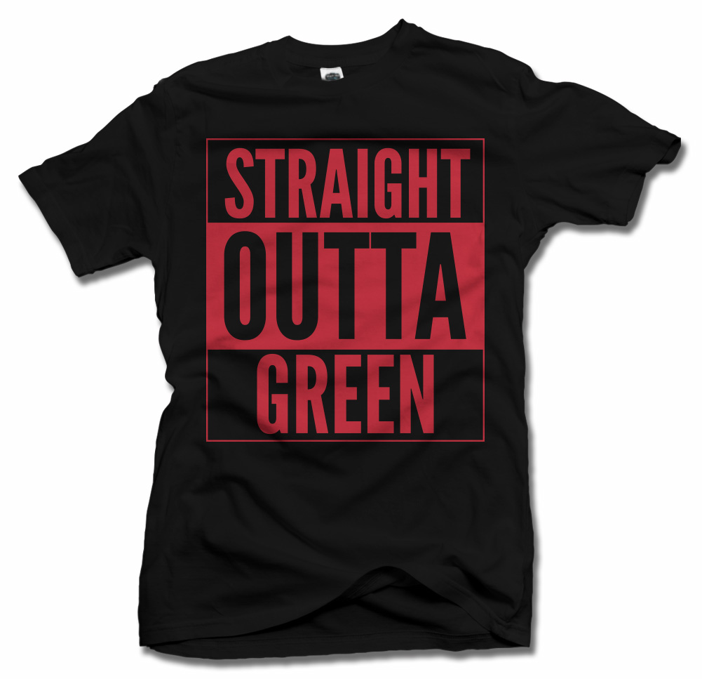 STRAIGHT OUTTA GREEN RED TEXT ST. PATRICK'S DAY T-SHIRT Model