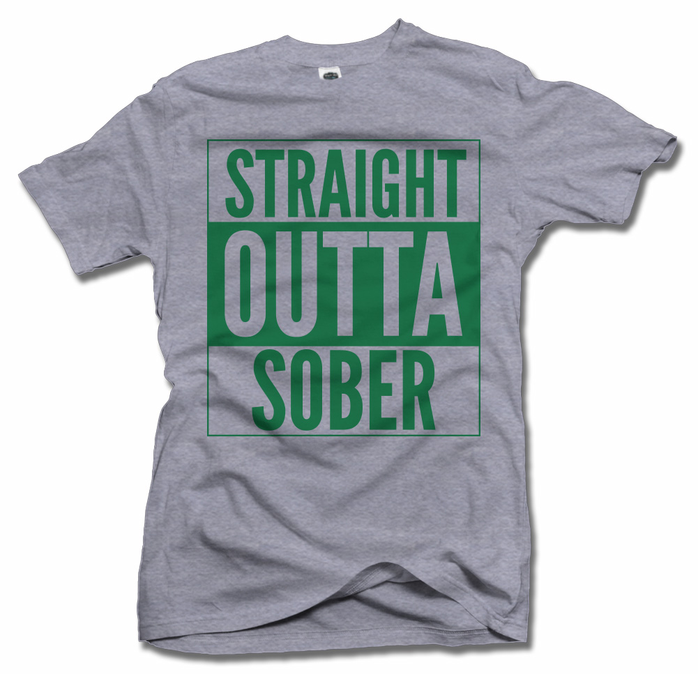 STRAIGHT OUTTA SOBER IRISH T-SHIRT Model