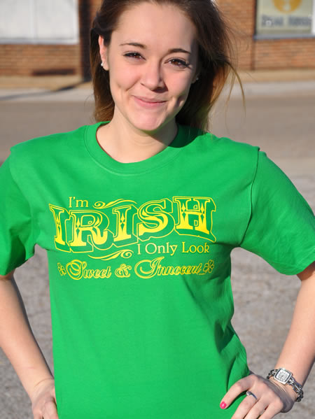 I'M IRISH I ONLY LOOK SWEET AND INNOCENT IRISH T-SHIRT Model