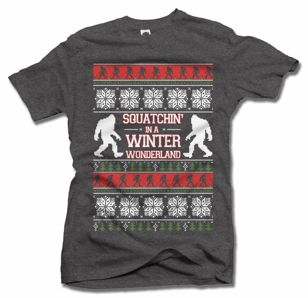 SQUATCHIN IN A WINTER WONDERLAND TACKY CHRISTMAS SWEATER Model