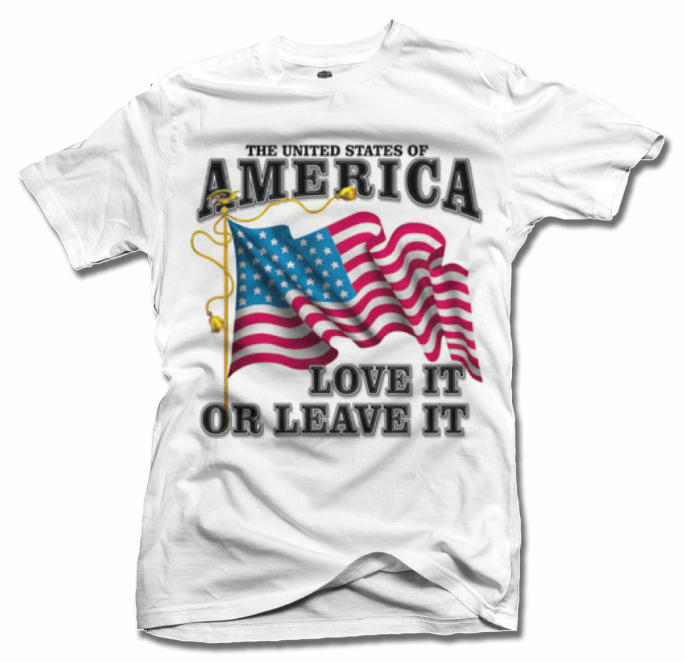 UNITED STATES OF AMERICA LOVE IT OR LEAVE IT PATRIOTIC T-SHIRT` Model