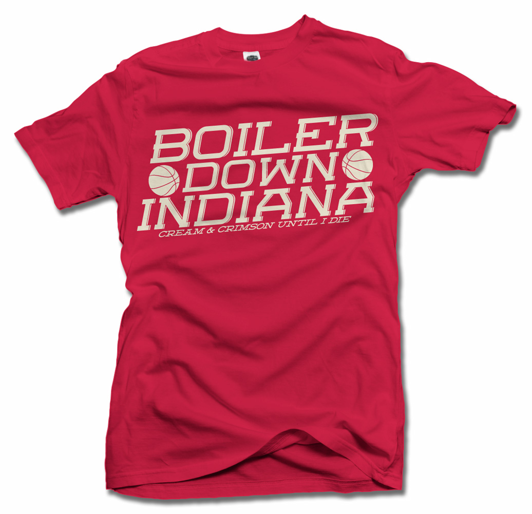 BOILER DOWN INDIANA CRIMSON & CREAM UNTIL I DIE INDIANA T-SHIRT Model