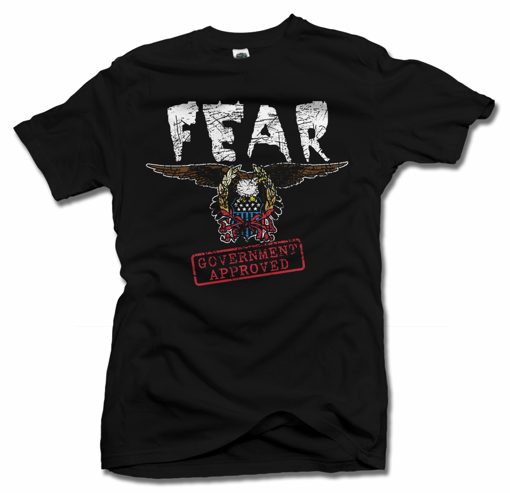 FEAR GOVERNMENT APPROVED FUNNY POLITICAL T-SHIRT Model