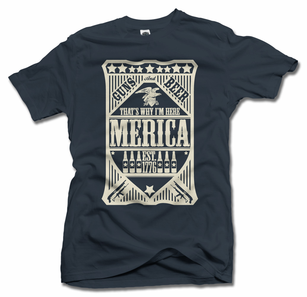 GUNS AND BEER 'MERICA THAT'S WHY I'M HERE FUNNY AMERICA T-SHIRT Model