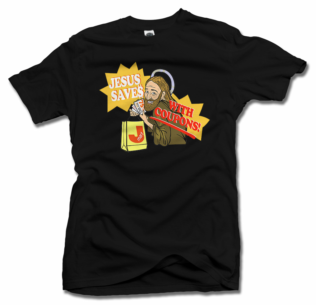 JESUS SAVES WITH COUPONS FUNNY T-SHIRT Model
