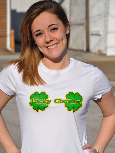 LUCKY CHARMS SHAMROCKS T-SHIRT Model