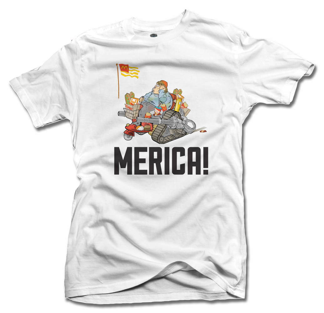 'MERICA FAT GUY ON A RASCAL FUNNY AMERICA T-SHIRT Model