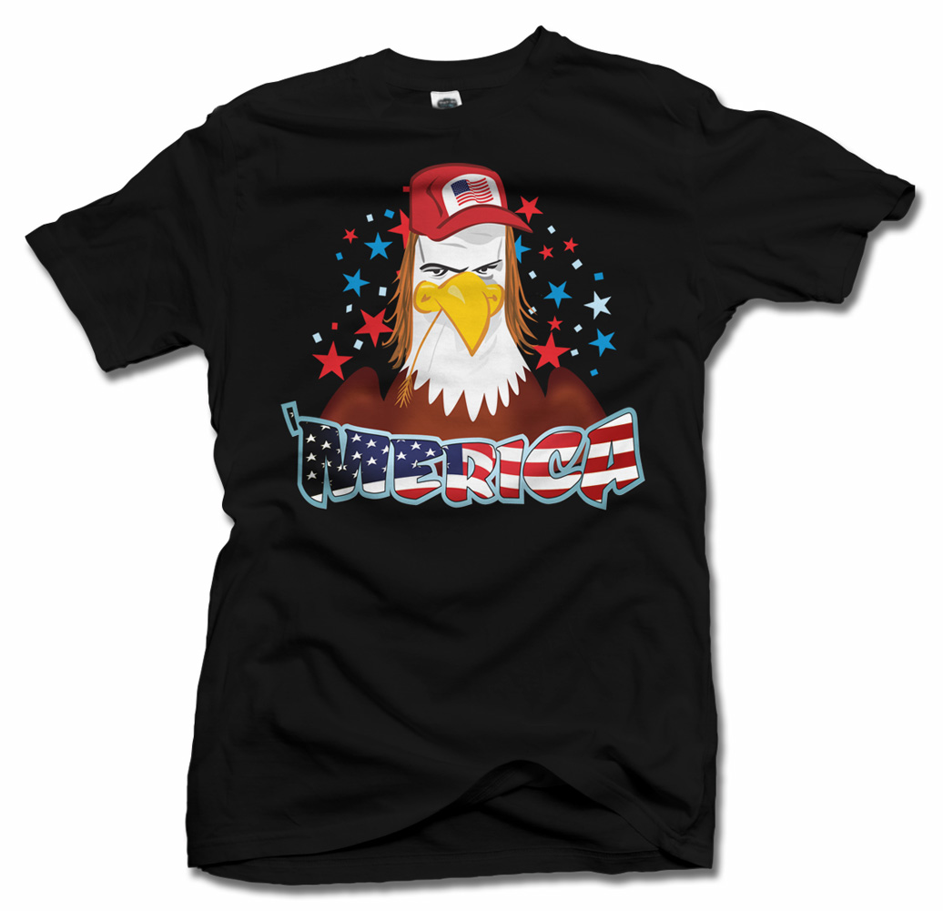 'MERICA EAGLE WITH A MULLET REDNECK FUNNY AMERICA T-SHIRT Model