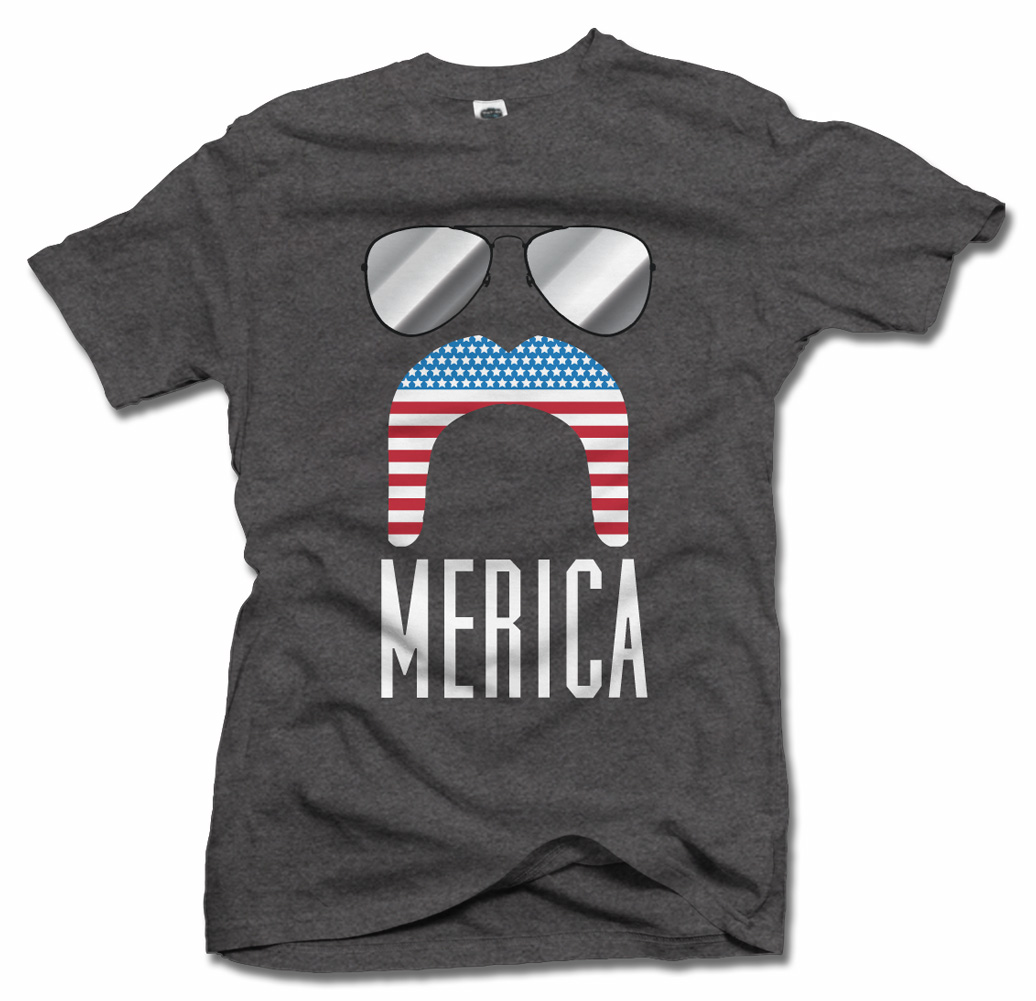 'MERICA MUSTACHE AND SUNGLASSES FUNNY AMERICA T-SHIRT Model