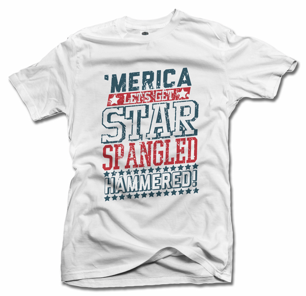 'MERICA LET'S GET STAR SPANGLED HAMMERED FUNNY AMERICA T-SHIRT Model