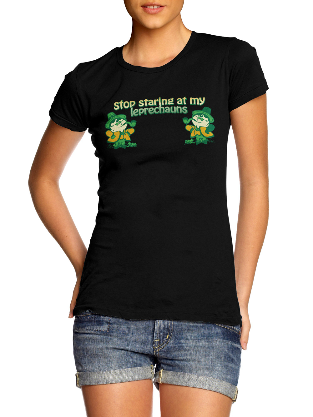 STOP STARING AT MY LEPRECHAUNS IRISH T-SHIRT Model