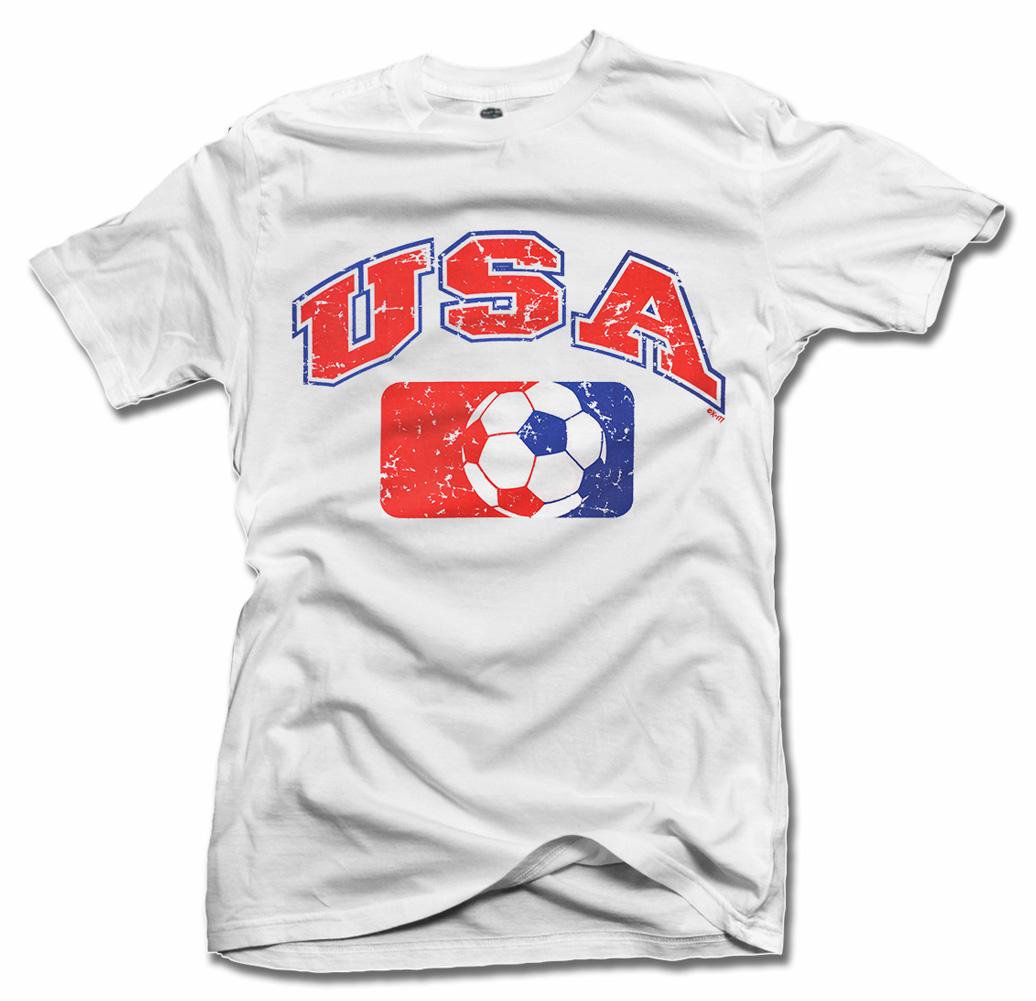 USA RED WHITE & BLUE SOCCER T-SHIRT Model