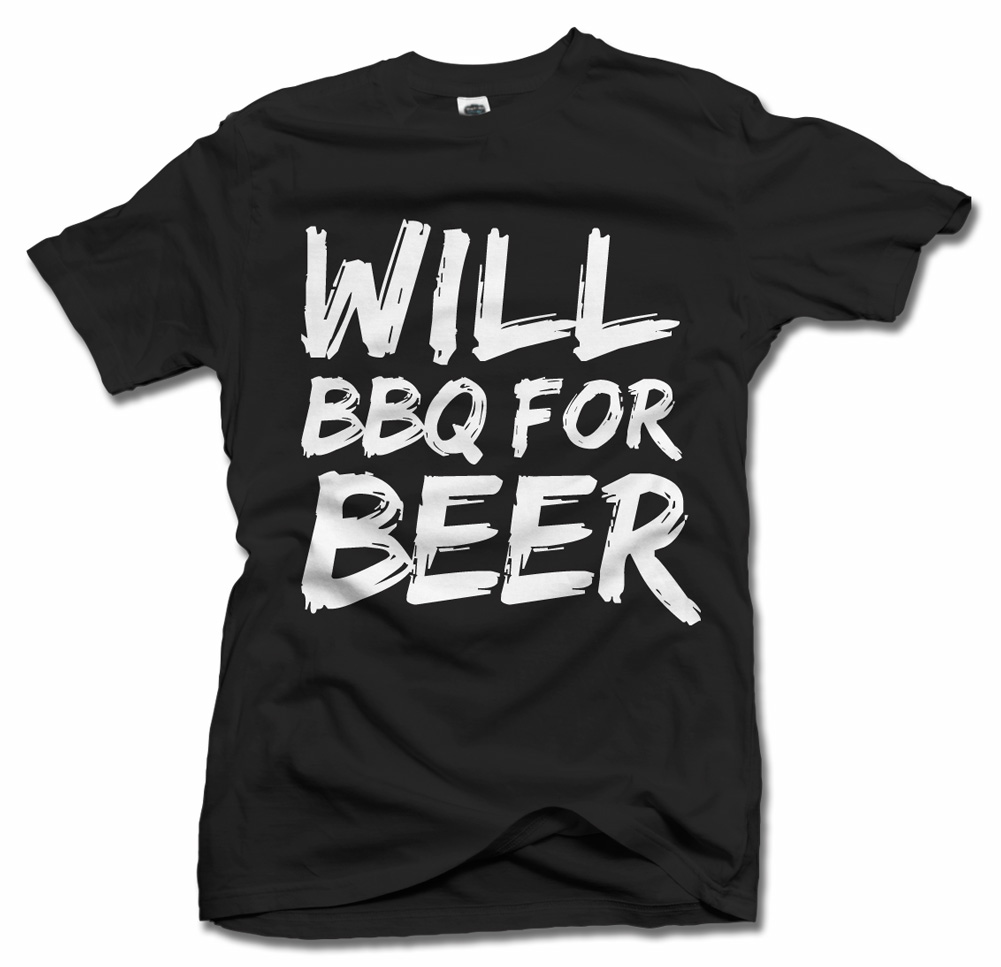 WILL BBQ FOR BEER BBQ T-SHIRT Model