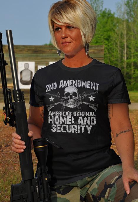 2ND AMENDMENT AMERICA'S ORIGINAL HOMELAND SECURITY GUN T-SHIRT Model