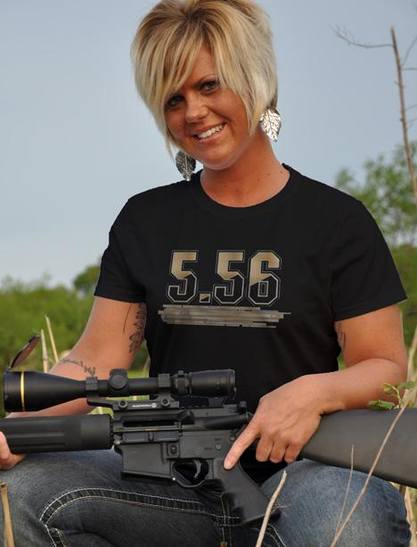 5.56 AMMO AR-15 GUN T-SHIRT Model