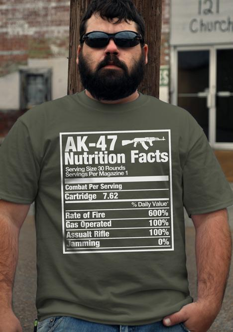 AK-47 NUTRITION FACTS GUN T-SHIRT Model