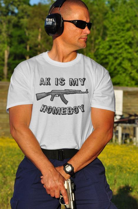 AK IS MY HOMEBOY GUN T-SHIRT Model