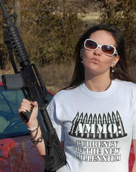 AMMO CURRENCY OF THE NEW MILLENNIUM GUN T-SHIRT Model