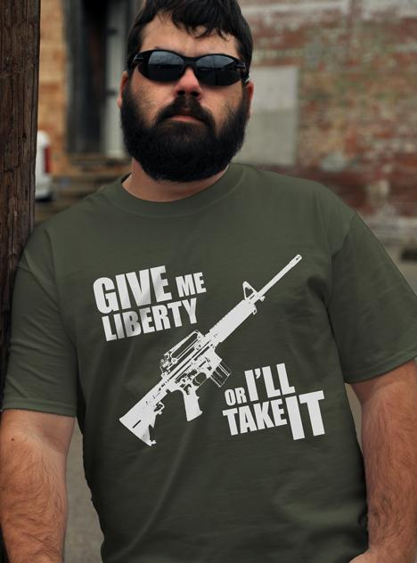 GIVE ME LIBERTY OR I'LL TAKE IT AR-15 GUN T-SHIRT Model