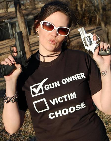 GUN OWNER VICTIM CHOOSE GUN T-SHIRT Model
