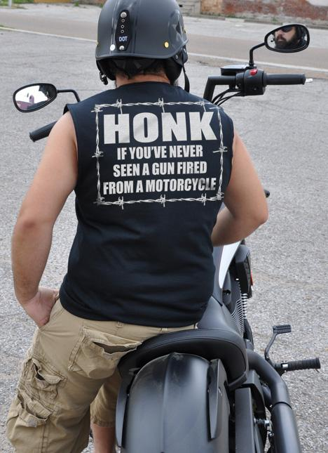 HONK IF YOU'VE NEVER SEEN A GUN FIRED FROM A MOTORCYCLE Model