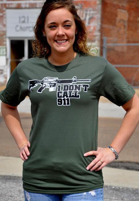 I DON'T CALL 911 AR-15 GUN T-SHIRT Model