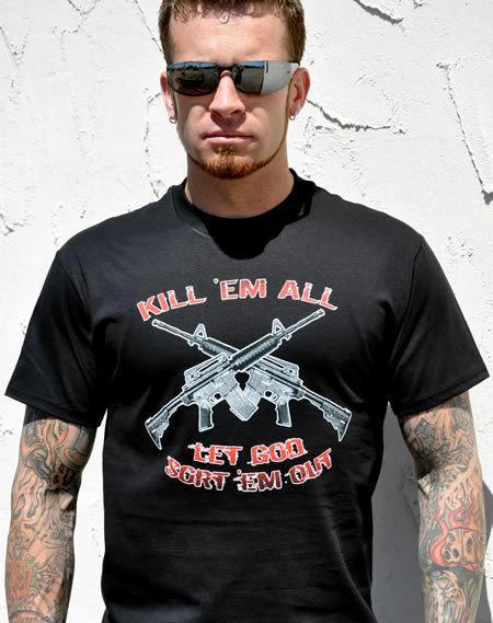 KILL EM ALL LET GOD SORT EM OUT GUN T-SHIRT Model