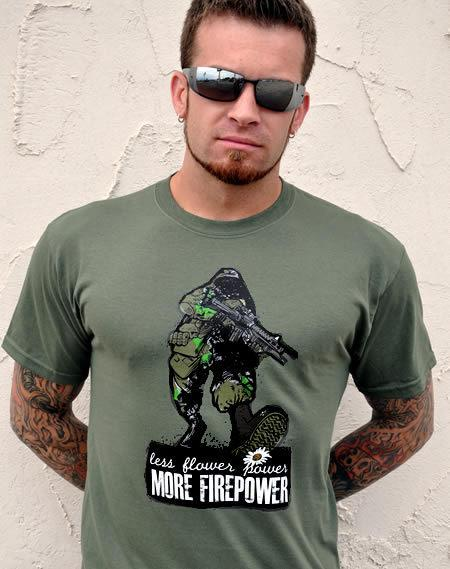 LESS FLOWER POWER MORE FIREPOWER GUN T-SHIRT Model