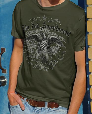 THE 2ND AMENDMENT EAGLE AND SHIELD GUN T-SHIRT Model