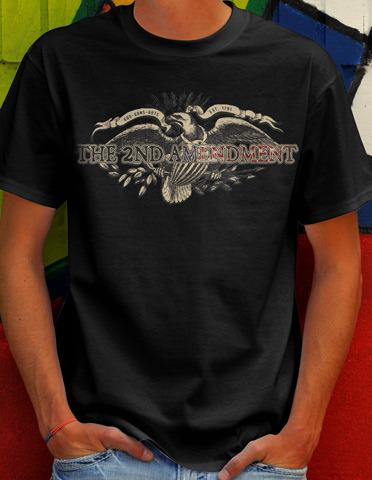 THE 2ND AMENDMENT GOD GUNS GUTS GUN T-SHIRT Model