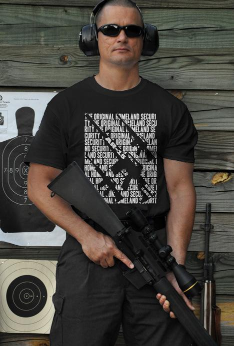 THE ORIGINAL HOMELAND SECURITY AR15 BLOCK GUN T-SHIRT Model